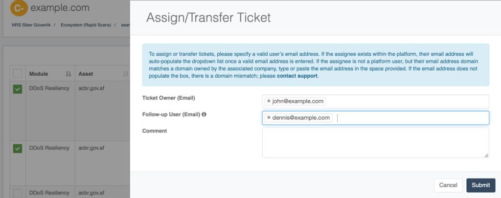 NormShield Ticketing Assign Transfer Screenshot