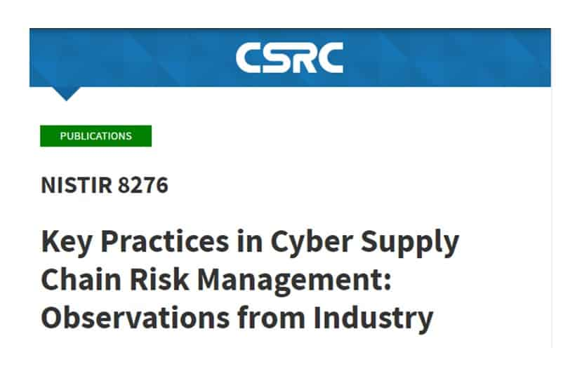NIST cyber supply chain risk management key practices banner and link