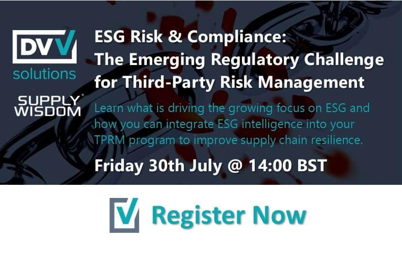 Webinar banner for ESG Risk and Compliance
